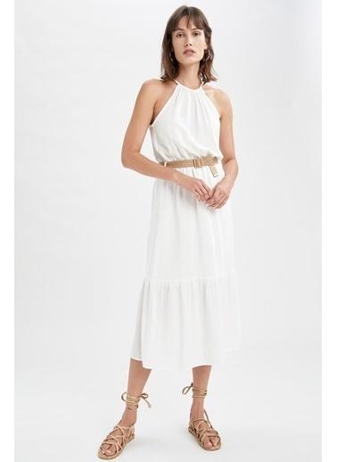 DeFacto Volan Detaylı Halter Yaka Hasır Kemerli Elbise Beyaz